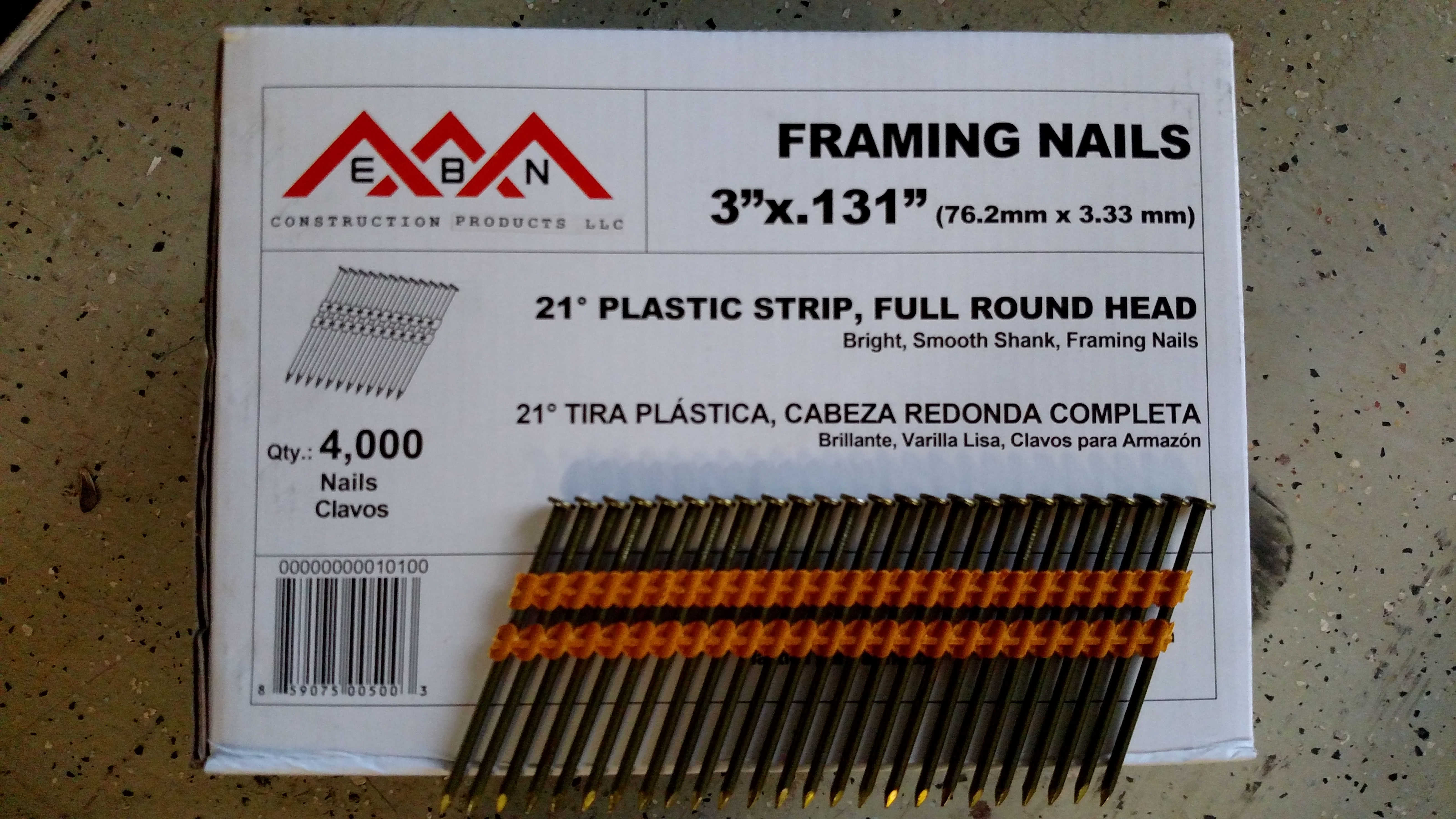 3 X 131 Framing Nails 21 Degree Plastic Collated Ebn